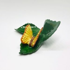 Vintage Herend Yellow Butterfly on a Leaf Figurine